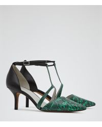 Reiss - Green Eden Double Ankle Strap Court Shoes - Lyst