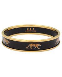 Halcyon Days - Black 18ct Gold Plated Enamel Tiger Motif Bangle - Lyst