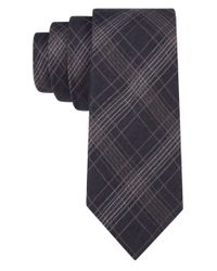 Calvin Klein | Black Silk-blend Plaid Tie for Men | Lyst
