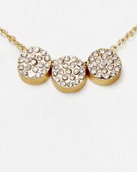 "Carolee - Metallic Round Pavé Necklace, 16"" - Lyst"