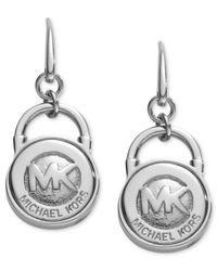 Michael Kors | Metallic Lock Earrings Silver | Lyst