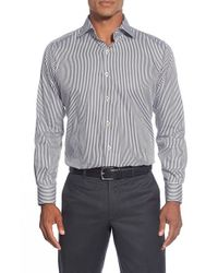 Peter Millar | Black Regular Fit Satin Stripe Sport Shirt for Men | Lyst