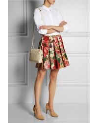 RED Valentino - Red Pleated Floralprint Cotton Skirt - Lyst