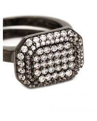 Rebecca | Black Elizabeth Crystal Marquis Ring | Lyst
