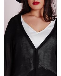 Missguided | Plus Size Button Down Maxi Cardigan Black | Lyst