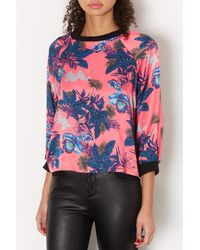 TOPSHOP - Pink Satin Orchid Ribbed Sweat - Lyst