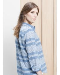 Violeta by Mango Blue Striped Cotton Shirt