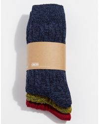 ASOS - Multicolor Cable Boot Socks 3 Pack for Men - Lyst