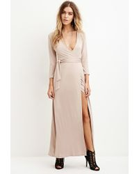 Forever 21 | Natural Maxi Wrap-waist Dress | Lyst