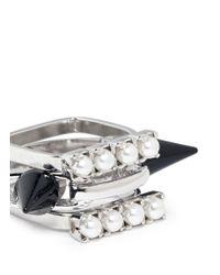 Joomi Lim | Metallic Spike Pearl Three Ring Set | Lyst