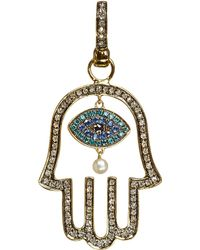 Annoushka | Metallic Mythology 18ct Yellow-gold, Diamond And Pearl Hand Of Fatima Amulet Pendant - For Women | Lyst