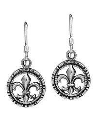Aeravida | Metallic Fleur De Lis In Detailed Circle .925 Silver Earrings | Lyst