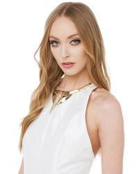 AKIRA - Metallic Queen Beh Gold Clear Crystal Necklace - Lyst