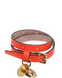 Alexander McQueen | Orange Skull Charm Leather Bracelet | Lyst