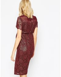 ASOS - Blue Bodycon Dress In Lace With Chiffon - Lyst