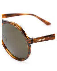 Valentino - Brown Round Frame Sunglasses - Lyst