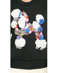 3.1 Phillip Lim Blue Mixed Media Poodle Sweatshirt Midnight