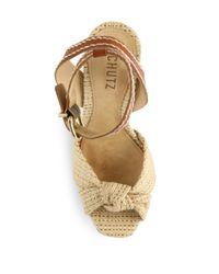 Schutz - Orange Dalla Knotted Denim & Leather Platform Sandals - Lyst