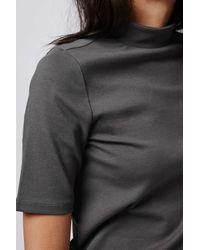 TOPSHOP | Gray Clean Funnel Top | Lyst