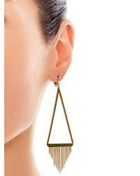 Saint Laurent - Metallic Gourmette Fringed Earrings - Lyst