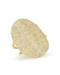 Anne Sisteron - Metallic 14kt Yellow Gold Diamond Oval Armor Ring - Lyst