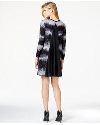 Kensie | Black Printed Pleat-detail Shift Dress | Lyst