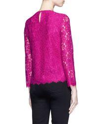 Diane von Furstenberg Purple 'brielle' Floral Guipure Lace Top