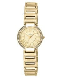 Anne Klein | Metallic Crystal Bezel Bracelet Watch | Lyst