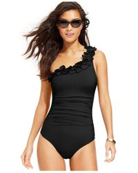 Kenneth Cole Black One-Shoulder Floral-Trim One-Piece Swimsuit