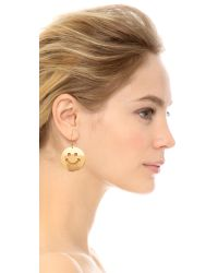 Erickson Beamon - Metallic Smiley Face Earrings - Gold - Lyst