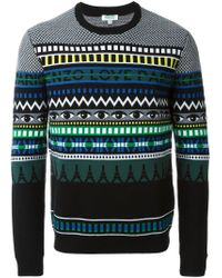 KENZO - Black Multi Logo Intarsia Sweater for Men - Lyst