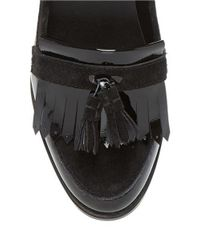 Dune | Black Goosie Patent Leather Loafers | Lyst