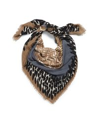 Burberry Blue Mixed Print Wool & Modal Square Scarf