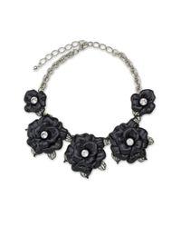 Kenneth Jay Lane | Black Graduating Flower Necklace | Lyst