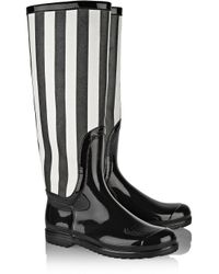 Dolce & Gabbana | Black Striped Faux Patent-Leather Rain Boots | Lyst