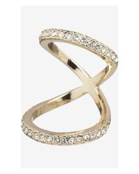 Express Metallic Pave Embellished Floating Knuckle Ring
