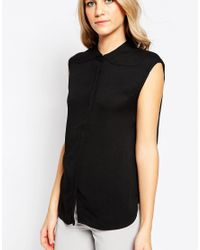 Just Female - Sleeveless Black Top - Lyst