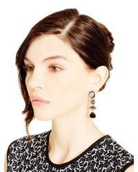 Oscar de la Renta | Metallic Pink Multi Crystal Drop Earrings | Lyst