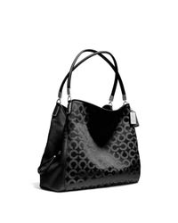 COACH Black Madison Small Phoebe Shoulder Bag in Op Art Sateen Fabric