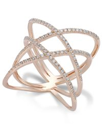 Macy's | Pink Diamond Double X-ring In 14k Rose Gold (1/2 Ct. T.w.) | Lyst