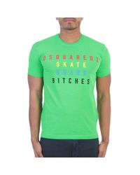 DSquared² | Neon Green Cotton T-shirt for Men | Lyst