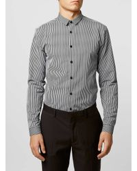 TOPMAN - Black And Grey Long Sleeve Stripe Smart Shirt for Men - Lyst