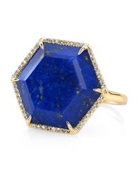 Anne Sisteron | Metallic 14kt Yellow Gold Lapis Hexagon Diamond Cocktail Ring | Lyst