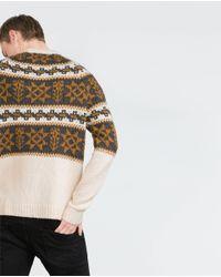 Zara | Brown Jacquard Sweater for Men | Lyst