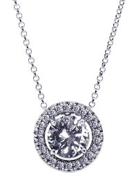 Carat* | Metallic Round 1.25ct Borderset Pendant Necklace | Lyst