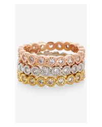 Express | Metallic Three-tone Cubic Zirconia Ring | Lyst