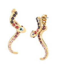 Betsey Johnson | Metallic Gold-tone Pavé Crystal Snake Front And Back Earrings | Lyst