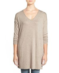 Gibson | Natural V-neck Tunic With Pockets | Lyst