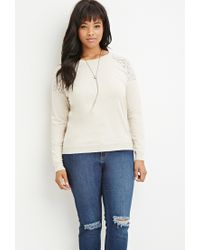 Forever 21 | White Lace-paneled Sweater | Lyst