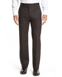 Zanella - Blue 'devon' Flat Front Check Wool Trousers for Men - Lyst